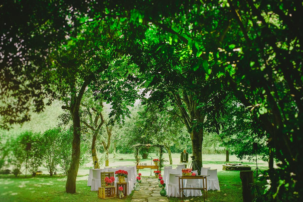 Boda al aire libre en el palacio molinar, bizkaia