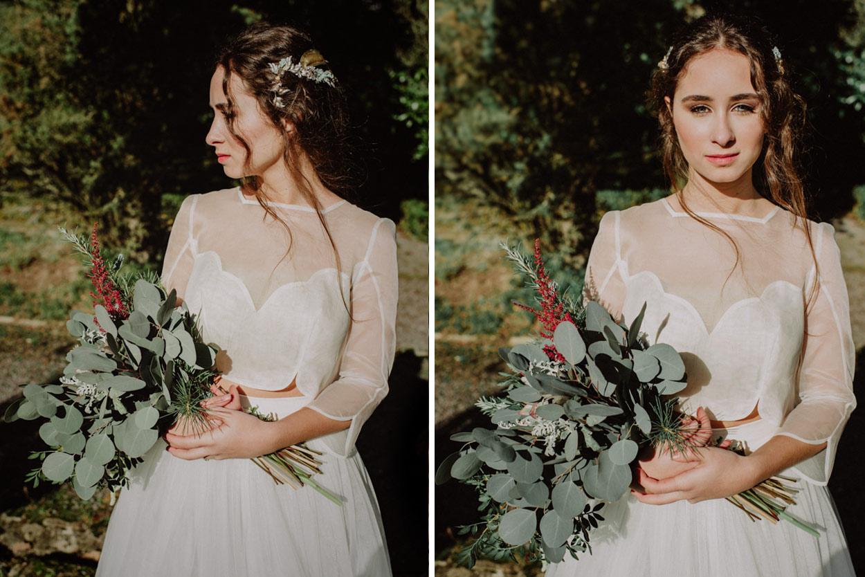 Novia con vestido de novia de paradero quilos Monika Zaldo